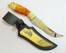 Gift for men. Knife. Wolf. Work of art. Good steel. Gilding. Engraving.