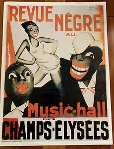 "Josephine Baker Poster ""Revue Negre"" Paul Colin Music Hall Champs Elysees 1925"