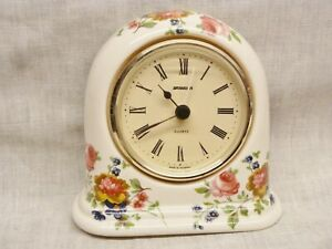 lovely ceramic china mantel desk alarm clock staiger germany old country roses