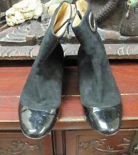 Boutique 9 ankle boots - black suede + patent leather cap - zipper 8 M