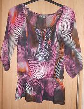 Et Vous Purple Pink & Orange Sequinned Chiffon Top size 12