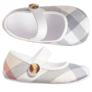 NIB NEW Burberry Baldwyn girls pink beige nova check ballerina shoes 17 2