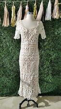 Stone Cold Fox Denver Lace Maxi Dress Wedding Rare White Nude Silk Slip 1 XS / S