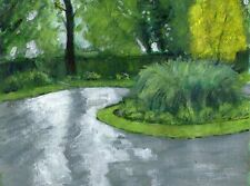 Terry George painting of  Heigham Park Norwich Norfolk after rain