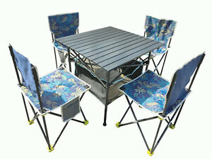 Portable Folding Aluminum Table Chairs Set-Lightweight for Camp Fishing Beach Ba