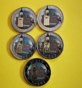 Série 5 pièces de 2 euro colorisée Allemagne 2010 (5 ateliers différents)