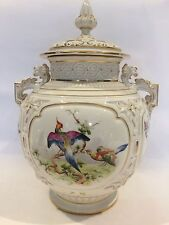 Antique Royal Worcester Hand Painted Birds Pot Pourri Vase Signed