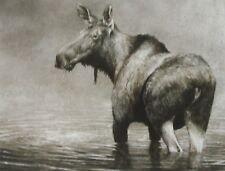 Robert Bateman Art Print Algonquin Moose Cow Sepia Winter Gathering Horse Herd