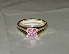 Vintage Square Cut Pink Ice CZ Sterling Silver Vermeil Ring Size 9 Free Shipping