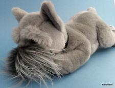 Russ Berrie Schnauzer Puppy Dog Grey Plush with Collar 12in Long Floppy Cuddly