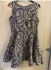 Ladies Quiz Navy & White Fit & Flare Paisley Print Dress Size 10
