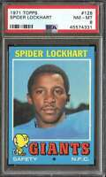 1971 TOPPS #128 SPIDER LOCKHART PSA 8 NY GIANTS  *K4187