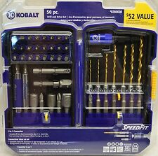 NEW KOBALT 50pc DRILL DRIVER NUT BIT SET SQUARE DR ADAPTER 1/4 3/8 HEX SPEED FIT