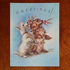Vintage UNUSED Christmas Card 1949 MARJORIE COOPER DOGS TERRIER DACHSHUND