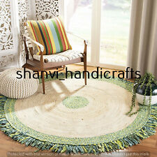Hand Woven Braided Natural Handmade Jute & Cotton 7 Feet Floor Area Rugs Carpet