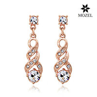 18K Rose Gold Plated Swarovski Crystal Women Wedding Earrings Fashion Jewelry