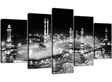 Large Black and White Islamic Mecca Temple - Split Set of 5 - 160cm Wide Canvas