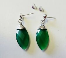 Green Crystal 35mm Marquise Drop Dangle Earrings Sterling silver