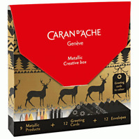 Caran D'Ache Metallic Pens Creative Box Christmas Card Gift Set Neocolor Pencils