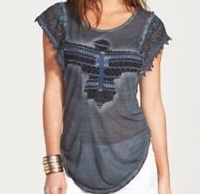 Free People Gunmetal Embroidered Phoenix Lace Sleeve Burnout Tee Size Small