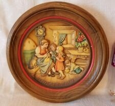 """9.5"""" Numbered Anri 1972 Carved Wood Plate Mother's Day Relief"""