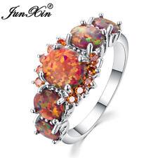 Orange Fire Opal Garnet Women Jewelry Gemstone 925 Silver Wedding Ring Size 6-10