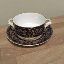 Lovely Royal Worcester Cobalt Blue & Gold Sandringham Cream Soup Bowl & U/plate