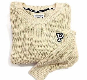 VICTORIAS SECRET PINK Forenza Crew neck Cozy Knit Pullover Boyfriend Sweater L
