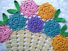 Colourful Flower Basket-Vintage Hand crochet Centrepiece- 2 available