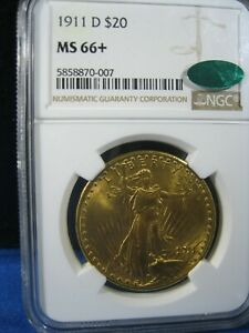 1911-d  GOLD $20 ST GAUDENS DOUBLE EAGLE NGC MS 66+    CAC    A WOW COIN
