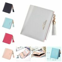 Simple Cute Wallet Bifold Small Handbag Purse Coin Bag Case Leather Women Solid