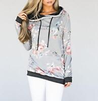 US Women Floral Hoodie Ladies Hooded Pullover Casual Coat Jumper Warm Tops GIFT