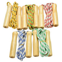 Kids Skipping Rope Wooden Handle Jump Play Sport Exercise Workout Toy AOFSHSO