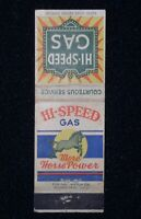 Hi-Speed Gas 1930s Matchbook Cover~More Horse Power, Ohio Match Co.