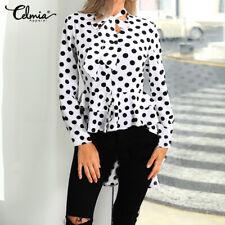 Womens Polka Dot Asymmetric Ruffles Shirt Blouse High Low Tunic Tops T-Shirt