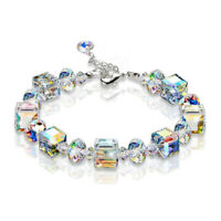 "Beautiful Aurora Austria Crystals Bracelet 925 Silver Wedding Adjustable 7""-9"""
