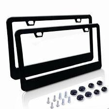 Car SUV Matte License Plate Covers with Free Screws Fasteners + Black Screw Caps