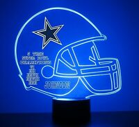 Dallas Cowboys NFL Football Light Up Light Lamp LED With Remote Personalize Free
