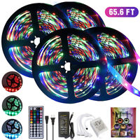 65.6FT RGB 5050 SMD Flexible LED Strip Light Remote Fairy Lights Room Waterproof