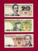 BEAUTIFUL POLAND UNC NOTES: 20 ZLOTYCH 1982, 50 ZLOTYCH 1988, & 100 ZLOTYCH 1986