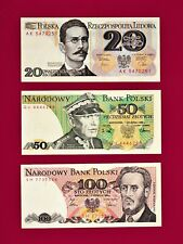 BEAUTIFUL POLAND UNC NOTES: 20 ZLOTYCH 1982, 50 ZLOTYCH 1988, & 100 ZLOTYCH 1986
