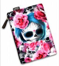 Liquor Brand Dark Dreams Sugar Skull pink roses large cosmetic bag