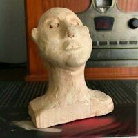 Amazing Vintage Signed Sculpted Small Clay Head - WOW!