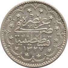 Ottoman Turkey AH1327 Year 2 Silver 5 Kurush