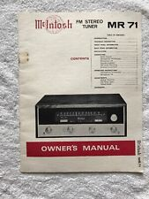 Mclntosh MR71 FM Stereo Tuner Owner's Manual