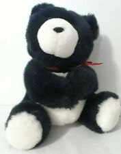"Hallmark Heartline 1990 8"" Black White Plush Teddy Bear Gift Card holder"