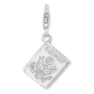 Passport Book Charm .925 Sterling Silver 3D Click On Amore La Vita