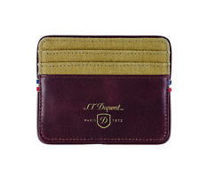 S.T. Dupont Beige & Cognac Leather Card Holder Wallet, 190301, New In Box