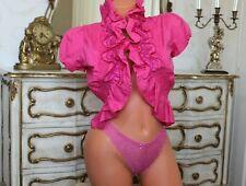 ( RL 2)  TSEGA Pink Polycotton Gathered Frilled Open Front Shrug Size S NEW