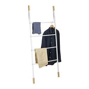 Handtuchleiter weiß Kleiderleiter Bambus Handtuchständer Wäscheleiter Metall Bad
